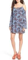 Mimichica Women's Mimi Chica Floral Print Cold Shoulder Shift Dress