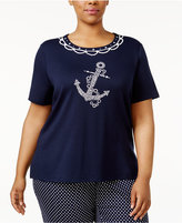 Alfred Dunner Plus Size Seas the Day Collection Nautical T-Shirt