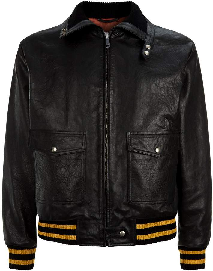 Gucci Embellished Slogan Leather Jacket