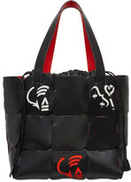 Paco Rabanne Cabas Painted Leather Tote Bag, Black Pattern