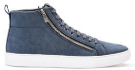 HUGO BOSS Zip Detail High Top Sneakers In Nubuck Leather - Light Grey