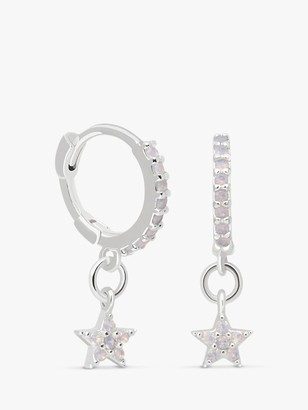 Astrid & Miyu Cubic Zirconia Star Charm Huggie Hoop Earrings