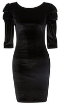 Dorothy Perkins Womens Black Velvet Puff Sleeve Bodycon Dress, Black