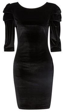 Dorothy Perkins Womens Black Velvet Puff Sleeve Bodycon Dress, Black
