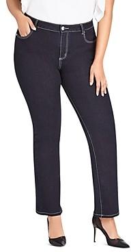 City Chic Plus Straight Leg Jeans in Denim Mid