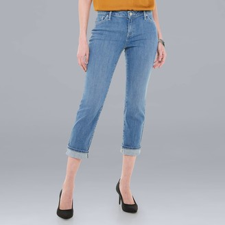 Vera Wang Women's Simply Vera Roll Cuff Capri Jeans