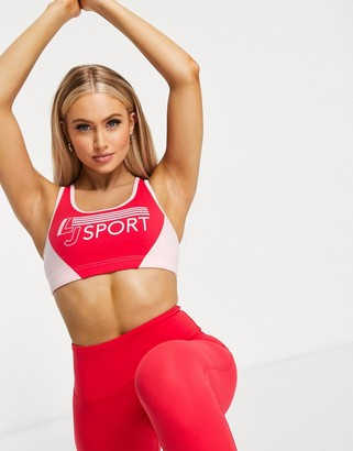 Lorna Jane retro logo sports bra in red and pink