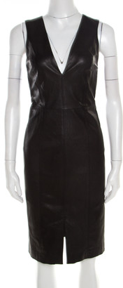 Alice + Olivia Black Leather Cutout Back Detail Sleeveless Corwin Dress S