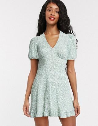 Miss Selfridge tea mini dress in green ditsy print