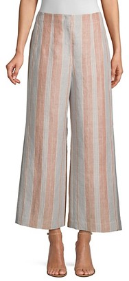 Lafayette 148 New York Downing Striped Linen Cropped Wide-Leg Pants