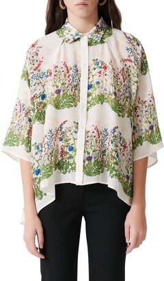 Maje Floral Print Silk Button-Up Shirt
