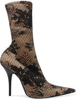 Balenciaga Lace And Spandex Boots - Beige
