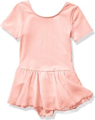 Amazon Essentials Little Girls' Short-Sleeve Leotard Dress Satin Pink Small