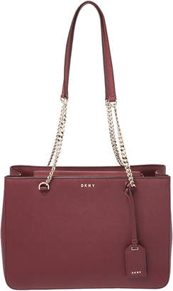 DKNY Maroon Leather Chain Tote