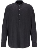 HUGO BOSS - Relaxed Fit Flannel Shirt With Cashmere - Open Grey