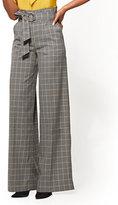 New York & Co. 7th Avenue Pant - Paperbag-Waist - Wide-Leg - Grey - Plaid