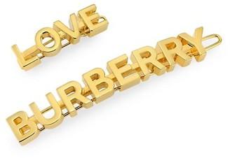 Burberry 2-Piece Goldtone Logo & Love Hair Clip Set
