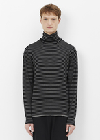 Lanvin black / ecru stripe patchwork jersey stitch turtleneck