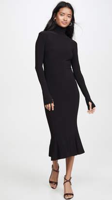 Norma Kamali Turtleneck Fishtail Dress