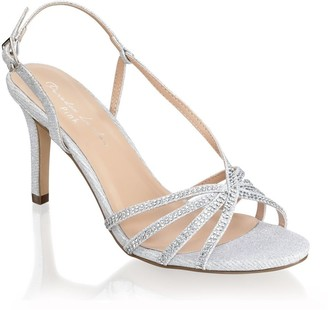 Paradox London Hattice Silver Mid Heel Ankle Strap Caged Sandals