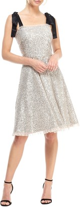 Gal Meets Glam Diana Sequin Cocktail Dress with Satin Shoulder Ties