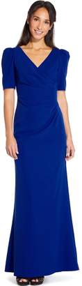 Adrianna Papell Royal Sapphire Elbow Sleeve Long Gown