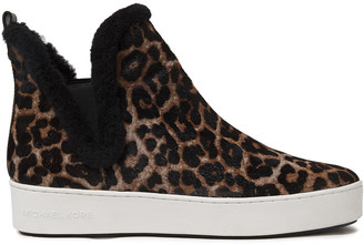 MICHAEL Michael Kors Shearling-lined Leopard-print Calf Hair Slip-on Sneakers