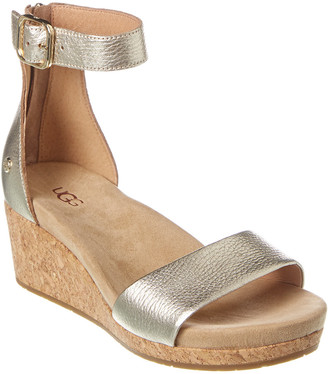 UGG Zoe Ii Metallic Leather Wedge Sandal