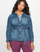 ELOQUII Plus Size Tie Waist Denim Jacket