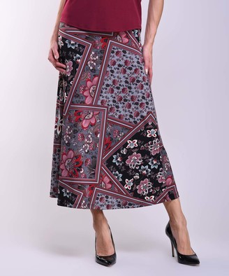Lbisse Women's Casual Skirts Gray - Gray & Wine Floral Maxi Skirt - Women & Plus