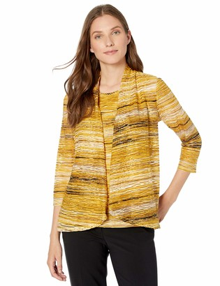 Kasper Women's Plus Size Long Sleeve HIGH Low Knit Jacquard Cardigan