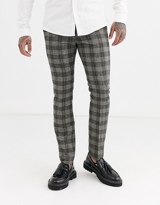 Topman skinny smart pants in grey herringbone