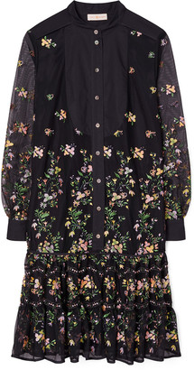 Tory Burch Floral Embroidered Tulle Tunic Dress