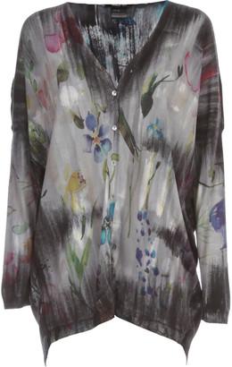 Avant Toi V Neck Flower Print Long Cardigan