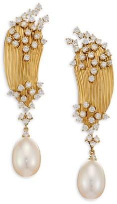 Hueb Plisse Diamond, Pearl & 18K Yellow Gold Drop Earrings