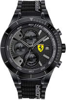 Ferrari Scuderia Men's Chronograph RedRev Evo Black Silicone Strap Watch 46mm 0830262