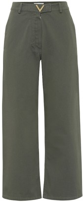 Valentino High-rise wide-leg cotton pants