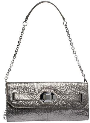DKNY Metallic Grey Leather Flap Chain Clutch