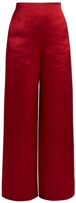 The Row Strom Washed Duchess-satin Trousers - Womens - Red