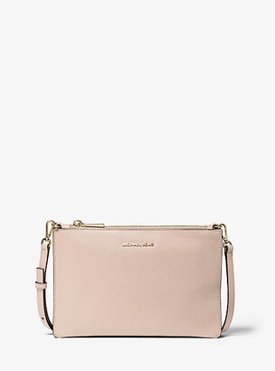 MICHAEL Michael Kors MK Large Pebbled Leather Double-Pouch Crossbody - Soft Pink - Michael Kors