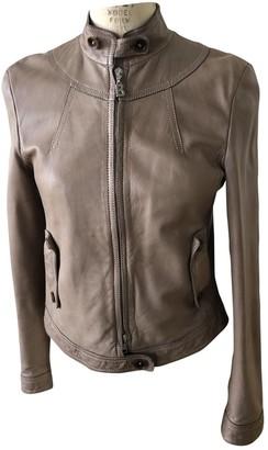 Bogner Beige Leather Leather Jacket for Women