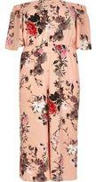 River Island Womens Plus pink print bardot jumpsuit