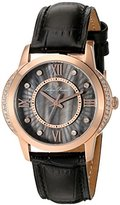 Lucien Piccard Women's 'Dalida' Quartz Stainless Steel and Leather Watch, Color:Black (Model: LP40001-RG-01)