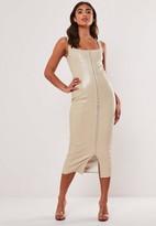 Missguided Cream Faux Leather Bodycon Midi Dress