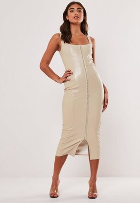 Missguided Cream Faux Leather Bodycon Midi Dress