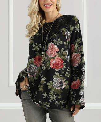 Suzanne Betro Women's Tunics 101BLACK - Black Floral Ruffle Hem Tunic - Women & Plus