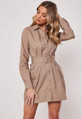 Missguided Stone Belted Shirt Dress