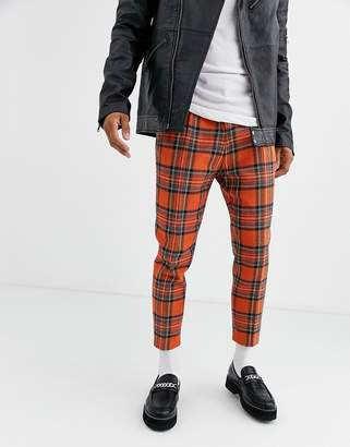 Twisted Tailor tapered cropped pants in orange plaid