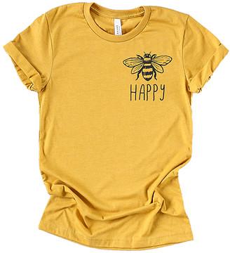 Party On! Women's Tee Shirts Mustard - Mustard 'Bee Happy' Crewneck Tee - Women