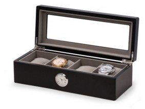 Bey-Berk 4 Watch Box with Quartz Movement Clock